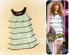 037 Korean Women's Fashion Chiffon Multi Layer Dress with Gem Neckline Green1