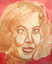 Vintage fauvist watercolor painting female portrait