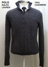 POLO Ralph Lauren 100% cashmere sweater mock neck turtle cable fisherman gray M