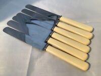 """Vintage TUDOR SHEFFIELD Stainless Faux Bone 9.75"""" Dinner Knives"""