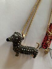 Betsey Johnson Crystal Cute dachshund Dog BLACK Necklace-BJ50635
