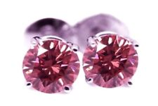PENDIENTES ZAFIROS ROSA 2.00 CT. BRILLANTE-REDONDO 6.00 mm. BRILLO-DIAMANTE