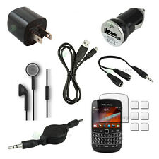 12 pcs Bundle Kit Black USB Cable+Car/Wall Charger for BlackBerry Bold 9900 9930