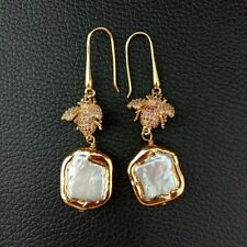 White Square Keshi Pearl 24K Gold Plated Cz Pave Beetle Hook Earrings
