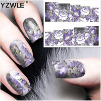 Nail Art Stickers Transfers Decals Violet Flowers (A-77)