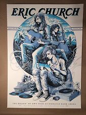 Eric Church 2017 Poster Variant Round Here Blue Miles Tsang Lincoln Ne, Toronto