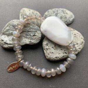 Lola Rose Grey Agate or Labradorite Stone Bracelet Large Focal Bead