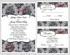 100 Personalized Custom Elegant Black Lace Bridal Wedding Invitations Cards Set