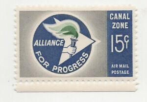 1963 Canal Zone Alliance of Progress #C35 15 Cent Airmail MH VF / XF w/ Selvage