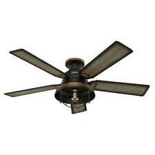 Lodge ceiling fans ebay 52 hunter bronze outdoor damp rated ceiling fan w led light lodge cabin aloadofball Image collections