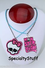 "2 NEW MONSTER HIGH 16"" NECKLACE LASER CUT RUBBER CHARM 1 EACH PICTURE COLOR (LI)"