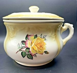 Vintage Pace Ceramics of Arkansas 3 Piece Chamber Pot Yellow w/ Rose Decoration