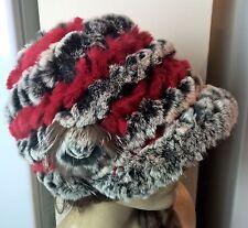 Negro Blanco Gris Rojo Real piel de conejo genuina de tejer sombrero cabeza Calentador Unisex