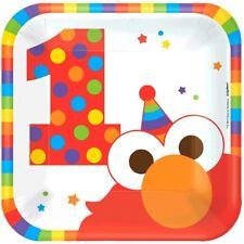 "Elmo Turns One 8 7"" Dessert Cake Plates 1st Birthday Party Sesame Street"