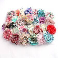 10 Patterned Shabby Chiffon rose flower mixed pack , millinery , hair and craft