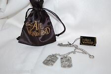 NEW Disney Couture/Tom Binns ALICE in WONDERLAND Silver Plate Dog Tag Necklace