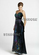 SWEET HEART NECK FLORAL PRINTS BLACK BEADED FORMAL/PROM/EVENING GOWN AU 8/US 6