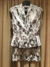 Worth New York Suit Pebble Khaki Green Floral Jacquard Twill 2pieces Sz 6
