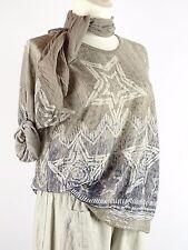 Shirt Tunika Gr.42 - 46 Designer Lagenlook Tuch Stern Pailetten braun beige blau