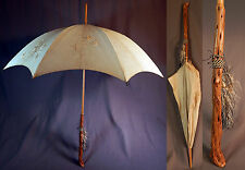 Edwardian Embroidered Cream Linen Folding Burl Wood Handle Tassel Parasol Vtg
