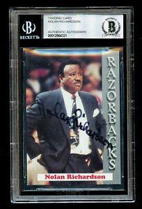 Nolan Richardson signed autograph University of Arkansas Trading Card BAS Slab