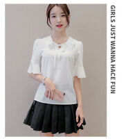Women Ladies Chiffon T Shirt solid Color Short Sleeve Blouse Casual Tops Blue