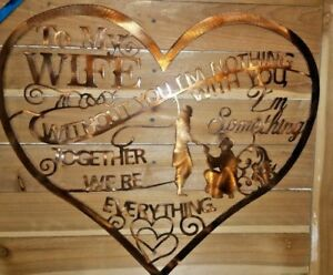 "16"" LOVE YOUR WIFE HEART SIGN  Wall Art Decor Hand Made in Waco Texas"