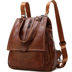 100% Genuine Leather Women's Backpack Travel Bag School Rucksack Crossbody Bag