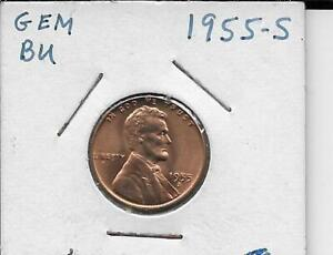 1955 S Lincoln Cent Gem BU Free shipping