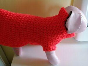Hand Crocheted Dog Sweater in Bright Orange