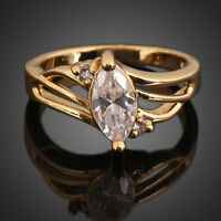 Fashion Women Graceful Oval Crystal Ring Gem Jewelry 18K Gold Filled Elegent New