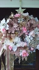 """""""PRETTY IN PINK SHABBY CHIC"""" CHRISTMAS WREATH (GOLD,CHAMPAGNE,PINK,WHITE,CREAM)"""