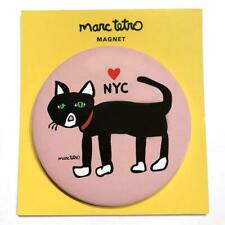 """*NWT* Marc Tetro NYC Black Cat on 3"""" Round Pink Magnet Heart New York City"""