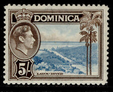 More details for dominica gvi sg108, 5s light blue & sepia, nh mint. cat £18.