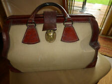 Vintage Homa Brown Leather with Cream Canvas Doctors/Overnight Bag