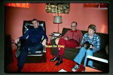 Men watching TV in Retro Home in 1970's, Original Photo Slide aa 4-15b