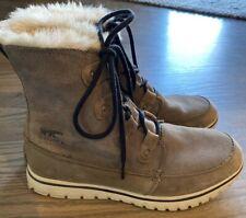 SOREL Womens Explorer Joan Quarry/Black Snow Boots Size 10