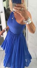 ASOS Dress Formal Silk Electric Blue Flowy Size10 STUNNING