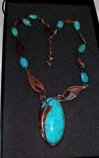 Jay King Turquoise Copper Sterling Silver Feather Design Pendant Necklace NWOT