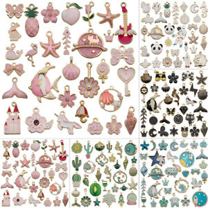 31pcs Lots Mixed Alloy Enamel Pendants Charms Jewelry Bracelet DIY Making Craft