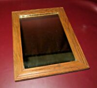 """Antique Arts & Crafts Style 15x12"""" Small American Oak Framed Hanging Wall Mirror"""