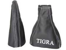 "Gear & Handbrake Boot For Holden Tigra B 2004-2009 Leather ""TIGRA"" White Logo"