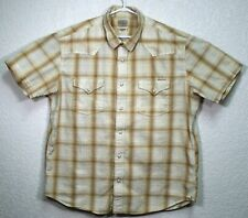 Lucky Brand Mens Pearl Snap Button Down Western Plaid Brown Size XXL Shirt EUC