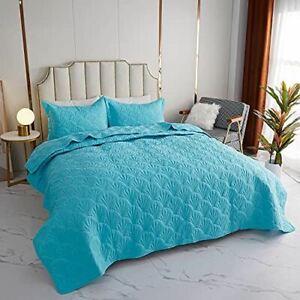 Kindred Home 3 Piece Quilt Set Scallop Pattern Bedspread - Soft Microfiber Light