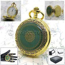 """Gold Antique Pocket Watch Men Size Quartz White Face Gift + 14"""" Fob Link P126"""