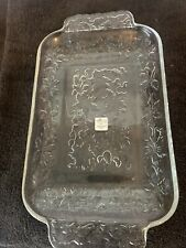 NEW Princess House Fantasia Crystal Serving Plate Tray 515 NIB 12x7in floral