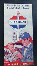 1960 Alberta British Columbia Manitoba SK road map Standard oil a gas Canada