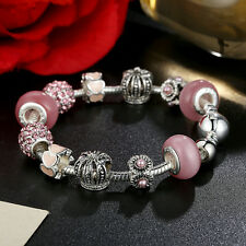 20cm European 9 25 Silver Pink Glass Bead & Crystal Charm Bracelet Snake Chain