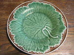 "Bordallo Pinheiro 8"" NEW VINE -Round Green Cabbage W/BROWN Plate MADE Portugal"