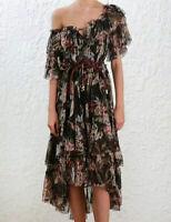 Zimmermann Vintage Bowie Waterfall Dress Off Shoulder Silk Women Dresses
